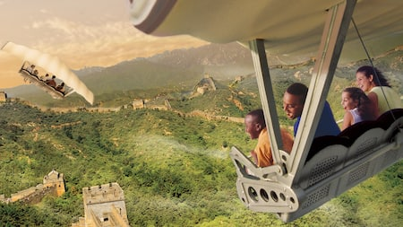 Conceptual artwork of Guests gliding above the Great Wall of China aboard Soarin' Around the World
