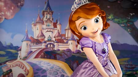 Sofia, a princess-in-training from the Kingdom of Enchancia, awaits Guests in the Animation Courtyard