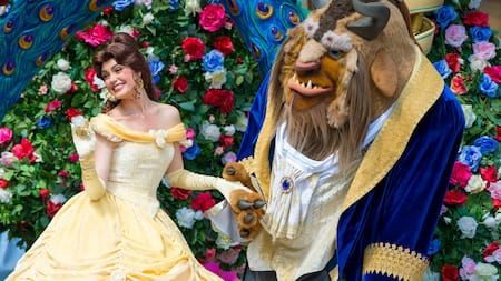 Belle tenderly holds the Beast's hand with one of her hands and waves with the other
