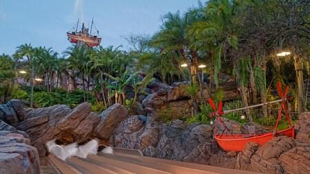 The Miss Tilly shrimp boat upon Mount Mayday amongst tropical foilage