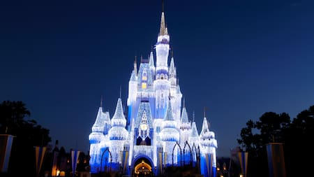 Cinderella Castle at Magic Kingdom park is lit up at night
