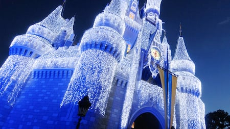 Cinderella Castle draped in white lights that shimmer in the night sky