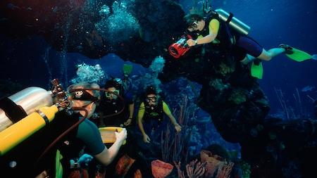 Huéspedes vestidos con equipos de buceo bajo un arco de piedra en un entorno subacuático tropical