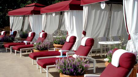 Padded lounge chairs topped with towels and potted planters of wildflowers lining a trio of cabanas