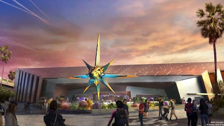 An artist rendering of exterior of the Guardians of the Galaxy: Cosmic Rewind attraction coming to Epcot