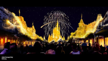 A crowd looks on as fireworks burst over Cinderella Castle and Main Street, U.S.A. is sprinkled with pixie dust