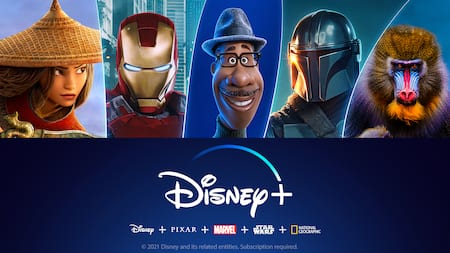 A promotional banner featuring the Disney plus logo over logos for Disney, Pixar, Marvel, Star Wars and National Geographic and then 5 images, including Mulan, Iron Man, Joe from the movie Soul, the Mandalorian and a mandrill holding her baby