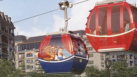 ディズニー・リビエラ・リゾート前を通るディズニー・スカイライナーのゴンドラに乗るゲストの方(アーティスト制作)
