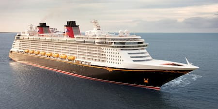 A Disney Cruise Line cruise ship at sea