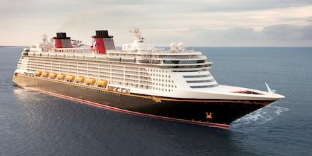 A Disney Cruise Line cruise ship at sea