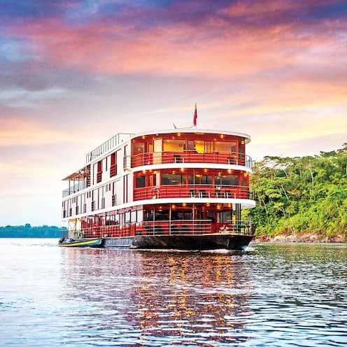 The Anakonda Riverboat cruises down the Amazon River
