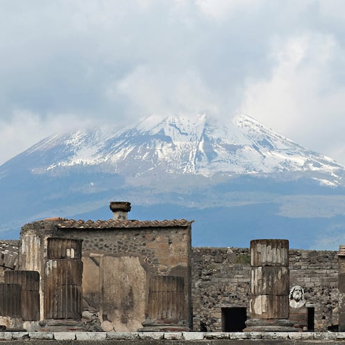 The ruins of Pompeii near Mount Vesuvius