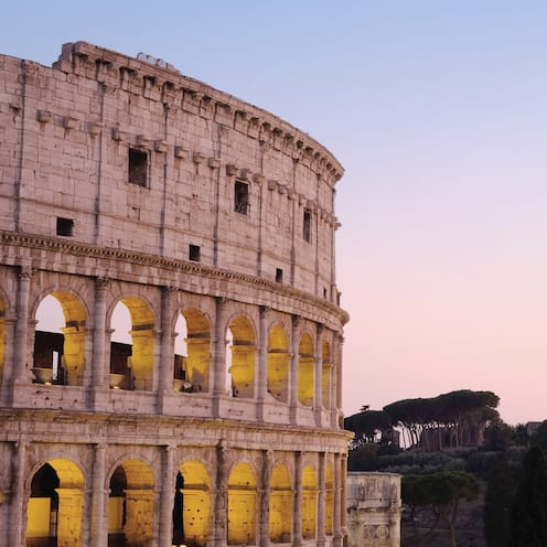 A section of the Colosseum in Rome, Italy