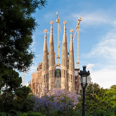The whimsical spires of Gaudí's Sagrada Família in Barcelona loom above the treetops