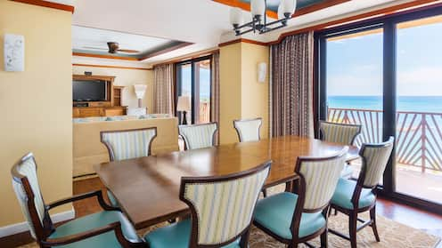 The living area and balcony of a 3-bedroom grand villa at Aulani Resort