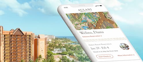 アウラニ・リゾート・アプリの画面が映っている携帯電話