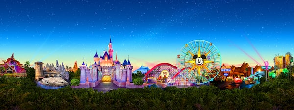 A panorama featuring images of Disneyland attractions including the Millennium Flacon, Sleeping Beauty Castle, the Pixar Pal A Round Ferris Wheel and Cars Land