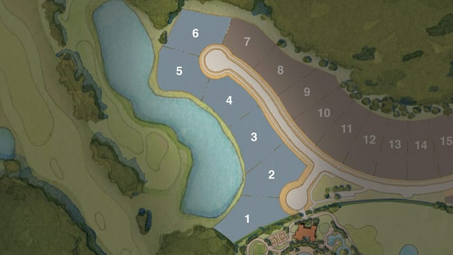 Map showing 6 homesites for the Starview Collection at Four Seasons Private Residences Orlando