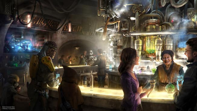 Humans and creatures from around the galaxy order drinks and talk at an exotic Star Wars cantina