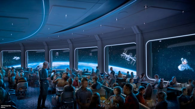 A rendering of a crowded restaurant themed to look like a space station just above the planet Earth