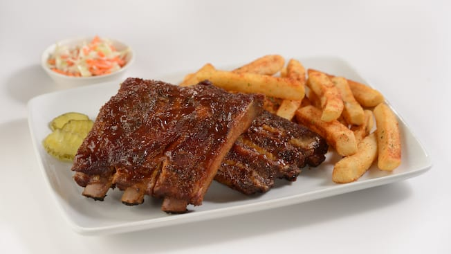 Barbecue ribs served with french fries