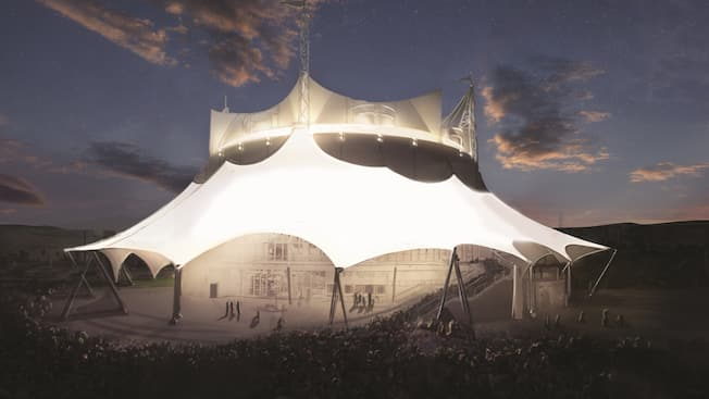 A sketch of people walking into the large Cirque du Soleil building in Disney Springs