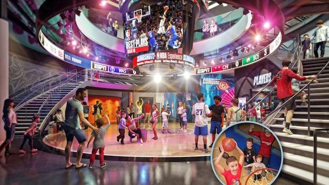 Representación artística del espacio de exhibición NBA Experience que ocupa varios pisos, adornada con grandes marcadores de estadio, mientras Visitantes disfrutan exhibiciones y actividades relacionadas con el baloncesto.
