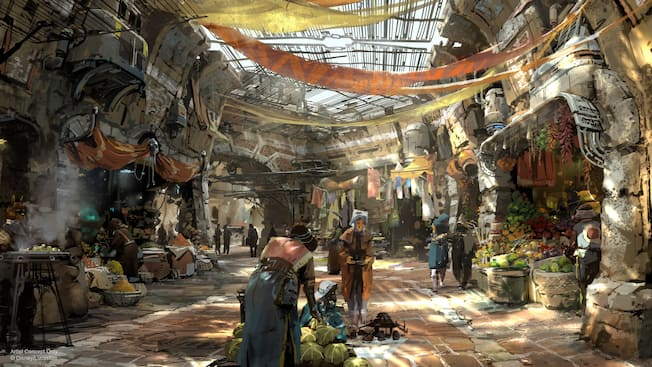 An artist's rendition of Black Spire Outpost reveals a marketplace inside an abandoned spaceship