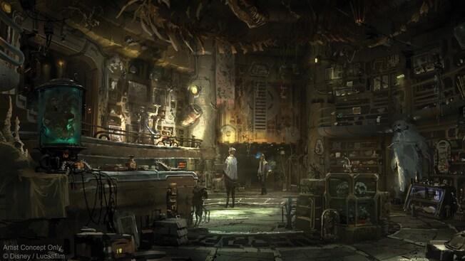 Los visitantes de Black Spire Outpost examinan las mercancías de toda la galaxia en Dok-Ondar's Den of Antiquities.