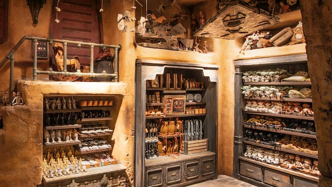 Visitors to the planet Batuu peruse dolls, vehicles and other fun novelties at the Toydarian Toymaker