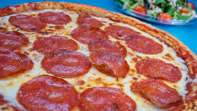 Pizza topped with pepperoni