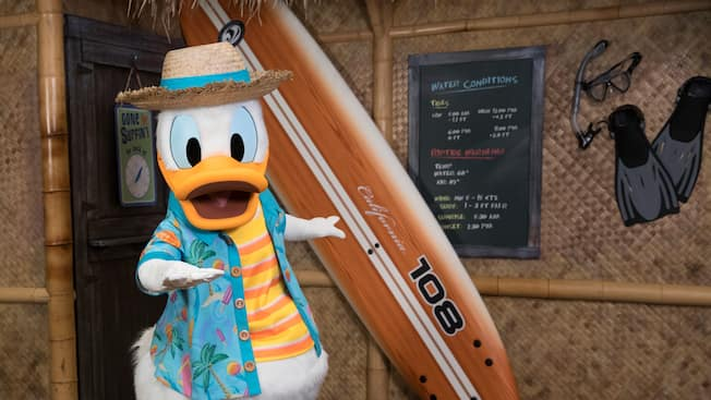 Donald Duck, dressed in a Hawaiian shirt and straw hat, posing in front of a Polynesian style structure beside a surfboard and a message board listing water conditions