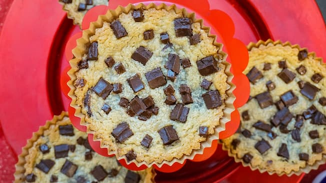 Large chocolate chip cookies on a plate
