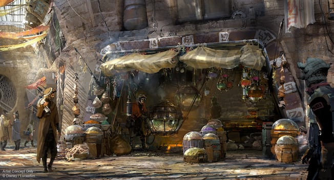 Concept art showing an exotic street market with grain in glass spheres