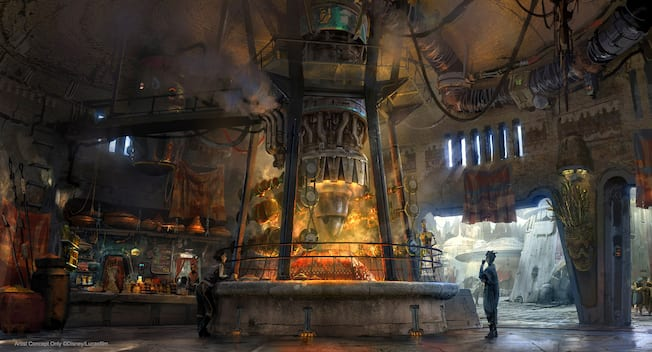 Concept art showing an exotic  restaurant where meats are roasted under the fire of a Star Wars podracer engine