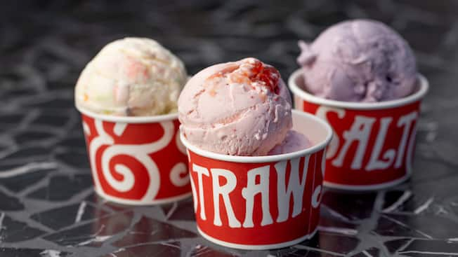 3 Salt and Straw cups filled with scoops of luscious ice cream