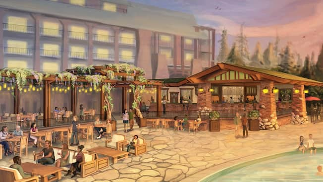 Artist sketch showing seating by the pool for GCH Craftsman Bar and Grill, located at Disneys Grand Californian Hotel and Spa.