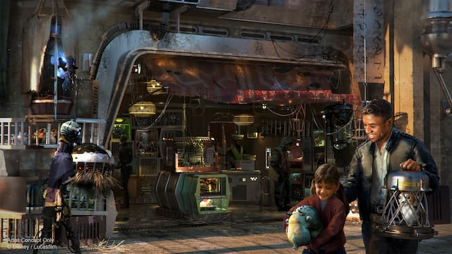 Black Spire Outpost visitors shopping for exotic creatures from across the galaxy at the Creature Stall