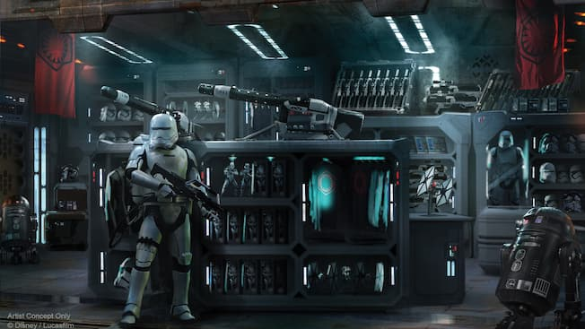 Concept art showing a shop with a First Order flametrooper and astromech droid guarding weapons and merchandise