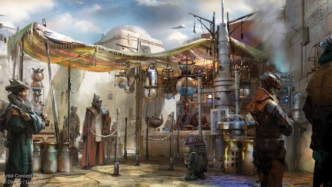 Una multitud de visitantes galácticos de Black Spire Outpost se reúne para disfrutar de bebidas en el Milk Stand
