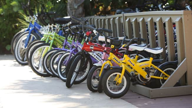 Multicolored row of children's and adults' bicycles in a bike rack
