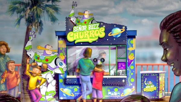 Arte conceptual del puesto de Señor Buzz Churros de Pixar Pier en Disney California Adventure Park