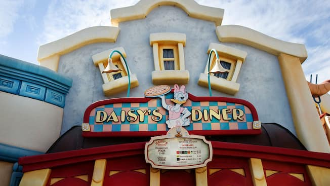 Daisy's Diner sign above a menu board outside the quick-service restaurant in Toontown