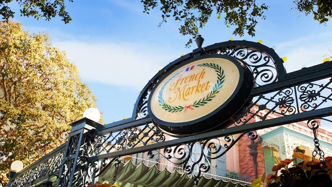 Ornate sign for French Market restaurant at Disneyland Park