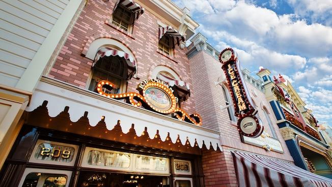 Ice cream sundaes sign at the Gibson Girl Ice Cream Parlor on Main Street, USA in Disneyland Park