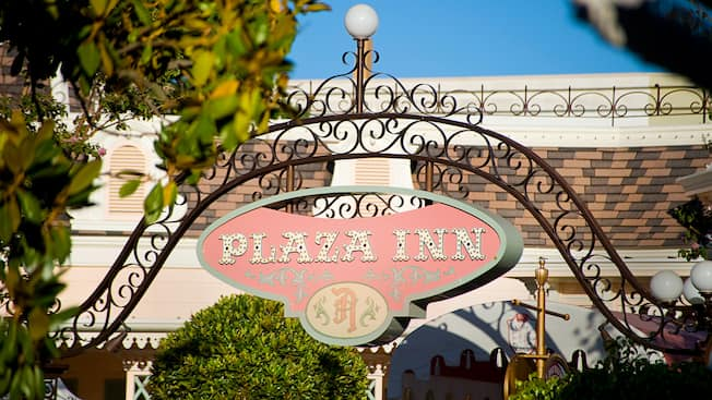 Plaza Inn entrance sign, Disneyland Park.