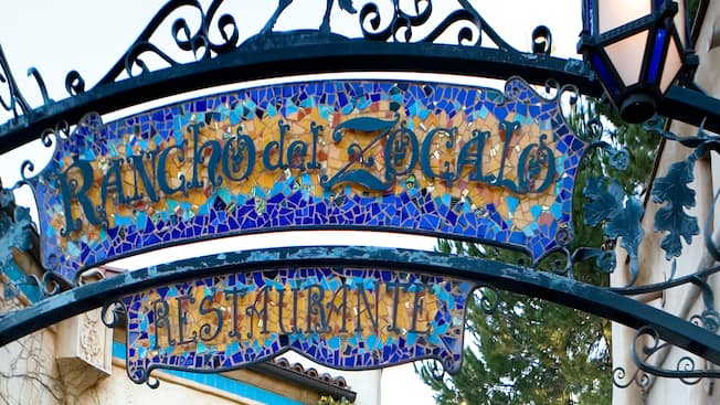 Entrance sign: Rancho del Zocalo Restaurante, a Disneyland Park Mexican restaurant