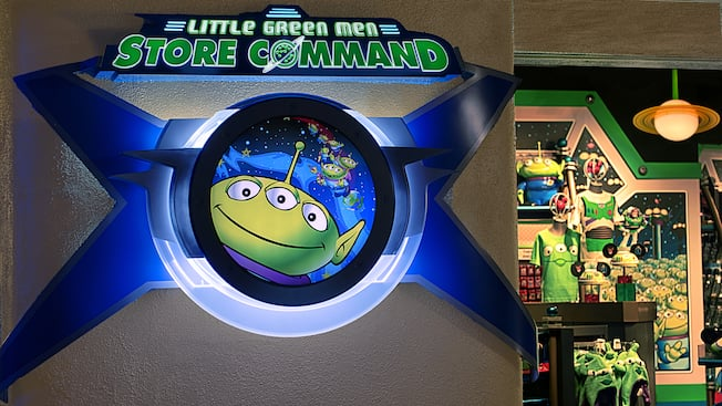 Buzz Lightyear-themed merchandise and many other Pixar souvenirs at Little Green Men Store Command