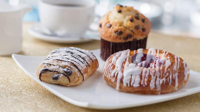 A variety of breakfast pastries on a plate