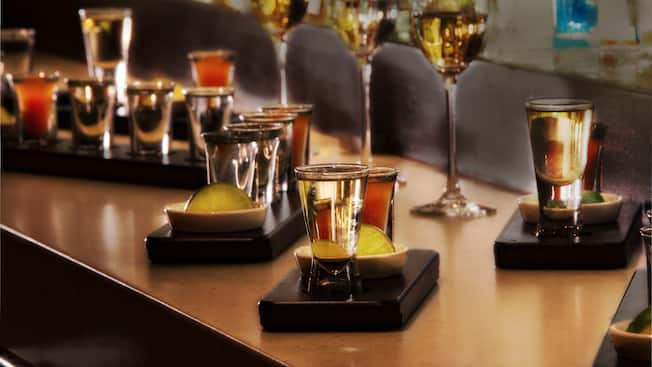 Shot glasses filled with tequila
